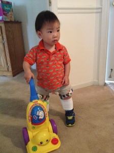 Malachi received leg braces in May 2015 to help straighten and strengthen his legs.